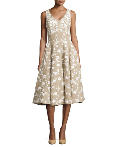 Floral-Embroidered Dance Dress