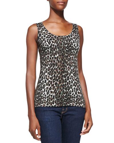Neiman Marcus Leopard-Print Cashmere Tank