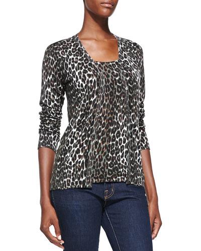 Neiman Marcus Leopard-Print V-Neck Cashmere Cardigan