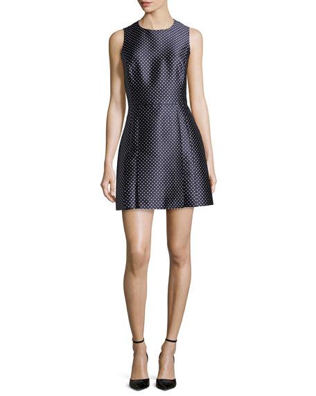 Dot Jacquard Mini Dress, Indigo/White