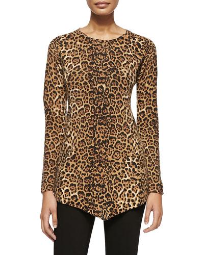 Sofia Cashmere Leopard-Print Triangle Cashmere Top