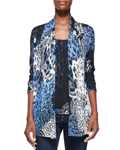 Neiman Marcus Lace Animal Printed V-Neck Cashmere Cardigan
