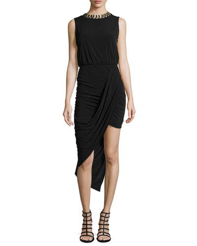 Asymmetric Draped Jersey Dress W/ Collar Necklace