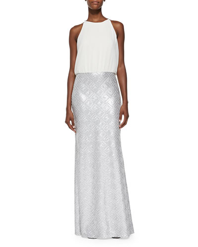Sleeveless Chiffon & Sequin Twofer Gown