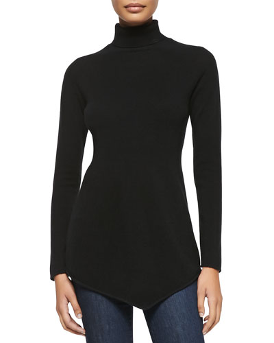 Sofia Cashmere Cashmere Long-Sleeve Triangle Turtleneck, Black