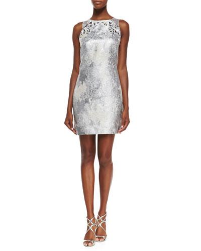 Sleeveless Metallic Dress W/ Beaded Yoke