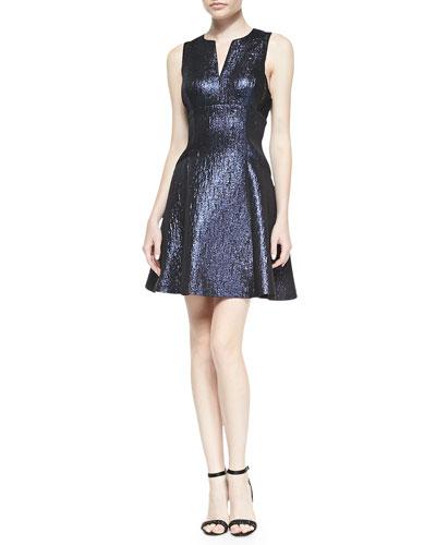Metallic Fit & Flare Cocktail Dress