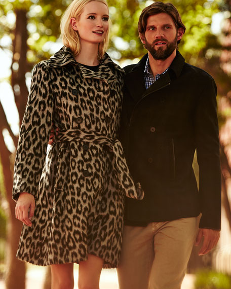 Sofia Cashmere Leopard-Print Double-Breasted Coat