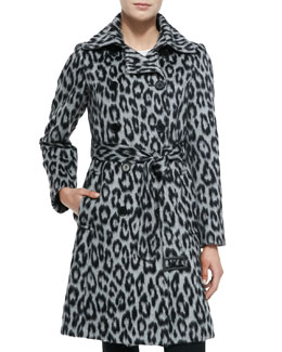 Leopard-Print Double-Breasted Coat