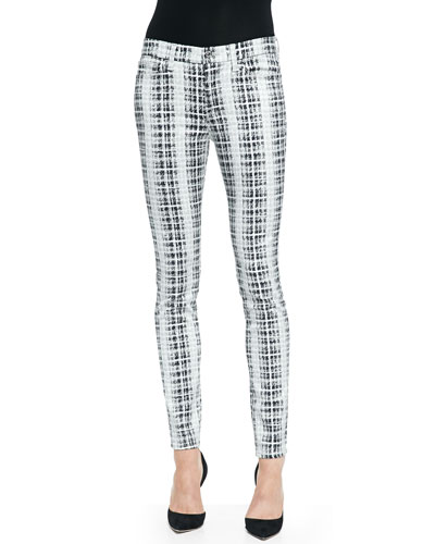7 For All Mankind Houndstooth-Plaid Skinny Twill Pants