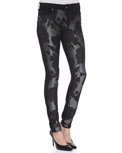 7 For All Mankind Floral-Pattern/Metallic Skinny Jeans