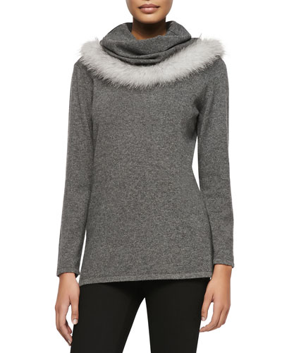 Sofia Cashmere Cowl Neck Fur-Trim Sweater
