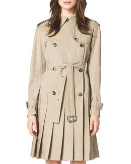 Pleated Trenchcoat Dress