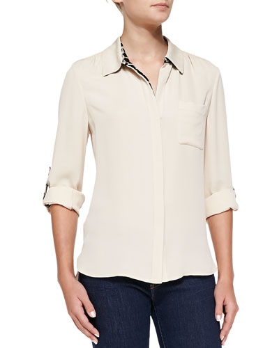 Diane von Furstenberg Lorelei Two Button Tab-Sleeve Blouse