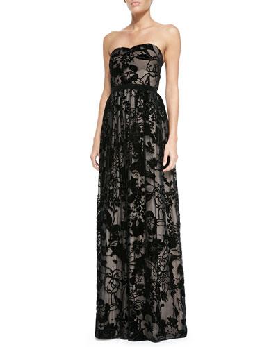 ERIN erin fetherston Gemma Strapless Laser-Cut Floral Gown
