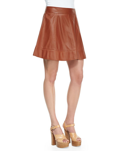 Leather A-Line Skirt, Luggage