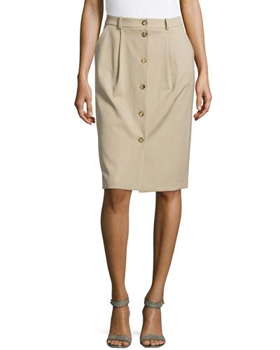 Gabardine Button Trouser Skirt, Sand