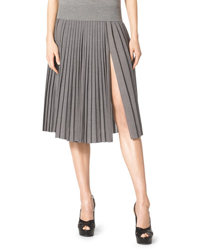 Pleated Slit-Front Wool Skirt, Banker Melange