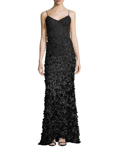 Sleeveless Petal Gown, Black