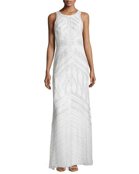 Sleeveless Beaded Gown