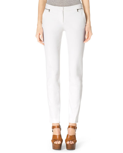 Stretch-Twill Zipper Pants, White