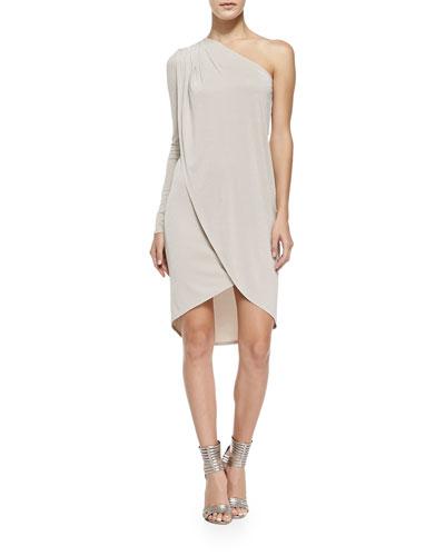 BCBGMAXAZRIA Jolee Single-Sleeve Shimmery Tulip Dress