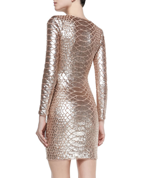 Sabryna Sequined Python-Pattern Dress