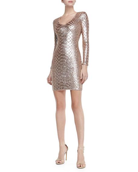 Sabryna Sequined Python-Pattern Dress