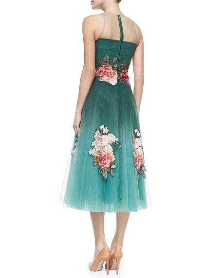 Tea-Length Floral Appliqué Dress