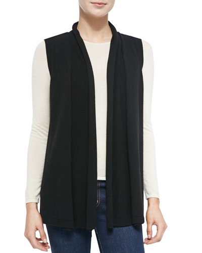 Neiman Marcus Cashmere Leather-Cutout Vest