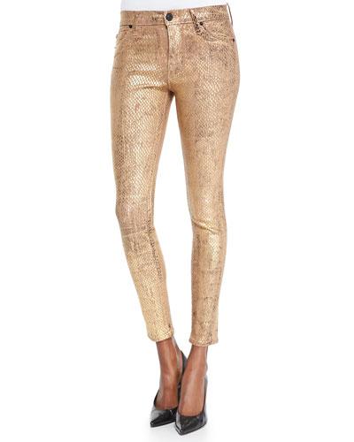 Hudson Nico Metallic Snake-Print Skinny Jeans, Second Skin