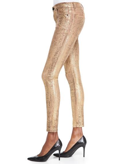 Nico Metallic Snake-Print Skinny Jeans, Second Skin