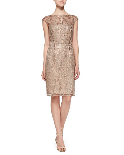 Cap-Sleeve Lace Overlay Cocktail Dress