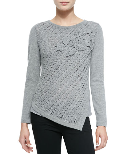 Neiman Marcus Crochet Asymmetric Cashmere Sweater