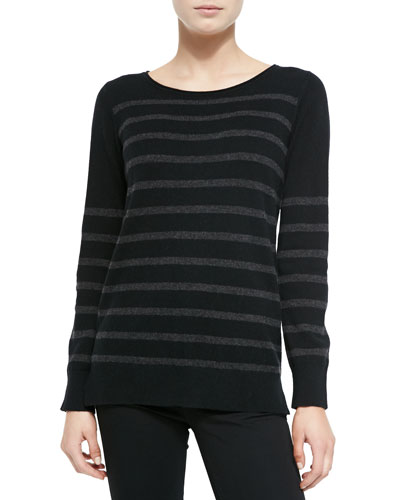 Neiman Marcus Striped Cashmere Long-Sleeve Sweater