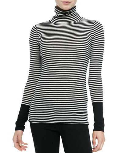 Neiman Marcus Striped Cashmere Long-Sleeve Turtleneck