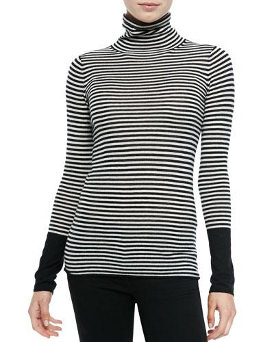 Neiman Marcus Striped Cashmere Long-Sleeve Turtleneck