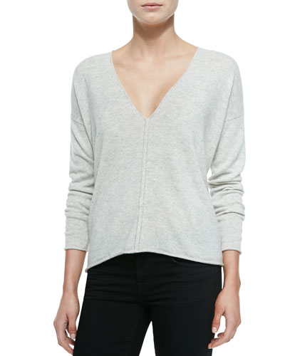 Neiman Marcus Chain-Trim Cashmere V-Neck Top