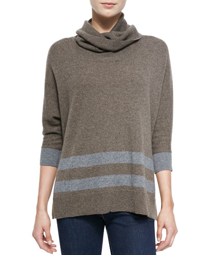 Neiman Marcus Striped Cashmere Poncho Sweater