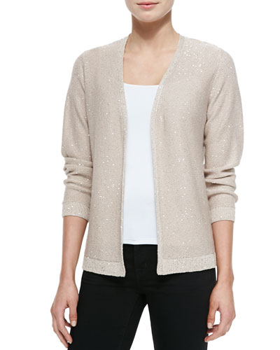 Neiman Marcus Sequined Cardigan w/Chiffon Back
