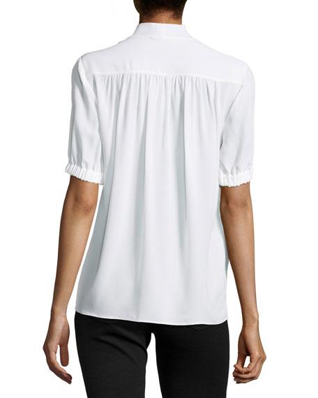 Michael Kors Tie-V-Neck Short-Sleeve Blouse