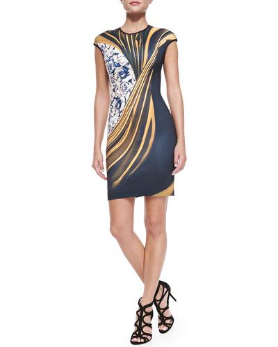 Clover Canyon Cap-Sleeve Corrida de Toros Sheath Dress