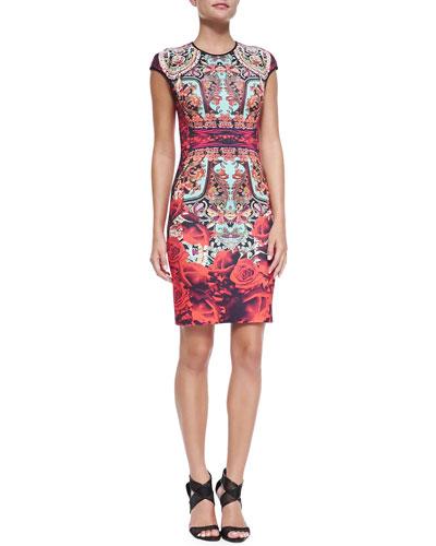 Clover Canyon Cap-Sleeve Rose Matador Sheath Dress