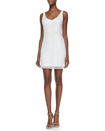 Sleeveless Sequined-Pattern Cocktail Dress