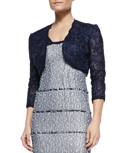3/4-Sleeve Lace Cropped Jacket
