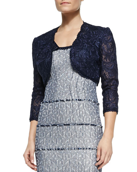 Kay Unger New York 3/4-Sleeve Lace Cropped Jacket