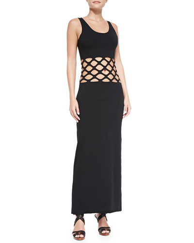 Cutout-Waist Cotton Maxi Coverup
