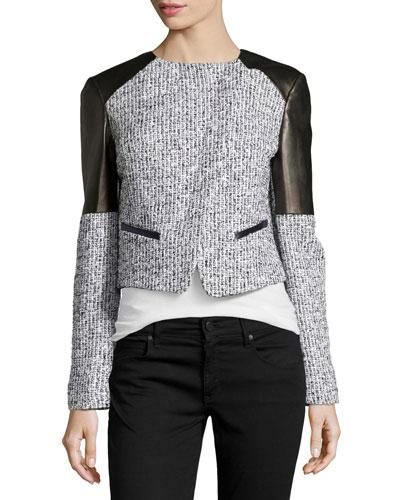 Asymmetric Tweed Jacket with Plonge Leather