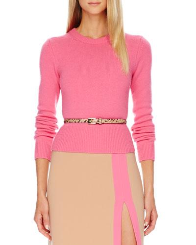 Cashmere Crewneck Sweater, Carnation