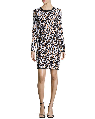 Long-Sleeve Animal-Print Sheath Dress